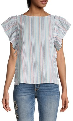 Miss Me Striped Ruffle-Sleeve Top