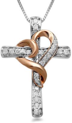 Silver Cross Hallmark Diamonds 1/4 CT. T.W. Genuine Diamond 14K Rose Gold over Silver & Sterling Pendant Necklace