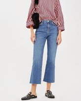 Topshop MOTO Mid Blue Dree Cropped Kick Flare Jeans
