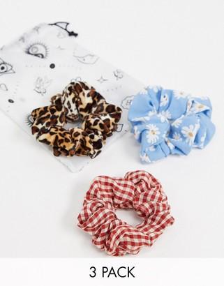Daisy Street scrunchies in fun prints 3 pack