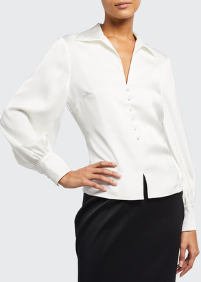 Badgley Mischka V-Neck Long-Sleeve Collared Satin Blouse