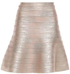 Herve Leger Coated Bandage Mini Skirt