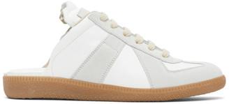 Maison Margiela White and Grey Replica Slip-On Sneakers