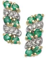 Macy's Emerald (1/2 ct. t.w.) & Diamond Accent Drop Earrings in 14k Gold