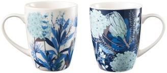 Ambrosia Duo New Bone China 2 Piece Mug Set 350ml Blue Flower