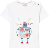 Paul Smith White Robot Print and Applique Back and Front Tee