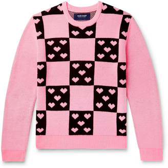 Noon Goons Lovers Checked Jacquard Sweater - Men - Pink