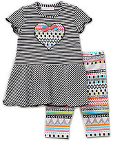 Bonnie Jean Bonnie Baby Girls 12-24 Months Heart Appliqued Striped Dress & Printed Leggings Set