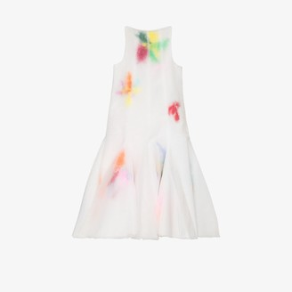 Susan Fang Layered Feather Organza Midi Dress