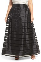 Alex Evenings Plus Size Women's Illusion Stripe A-Line Ballgown Skirt