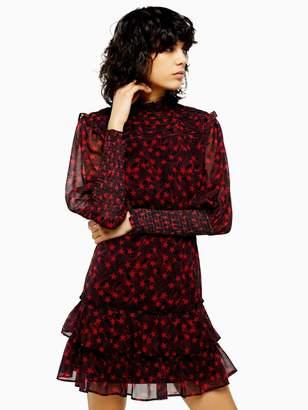 Topshop Ruffle Shirred Mini Dress - Red