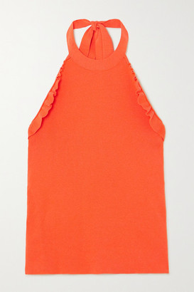 See by Chloe Ruffled Ribbed-knit Halterneck Top - Orange