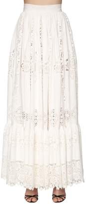 Dolce & Gabbana Embroidered Cotton Poplin Long Skirt