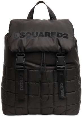 DSQUARED2 Logo Flocked Nylon Puffy Backpack