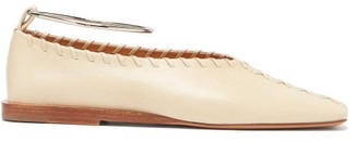 Jil Sander Whipstitched Square-toe Leather Ballet Flats - Womens - Cream