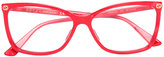 Gucci thin rectangular frame glasses - women - Acetate - 56