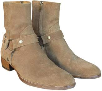 Saint Laurent Wyatt Beige Suede Boots