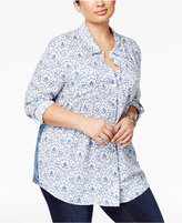 Style&Co. Style & Co Plus Size Mixed-Print Shirt, Created for Macy's