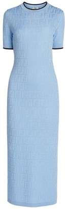 Fendi FF Knit Short-Sleeve Midi Dress