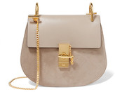 Chloé Drew Small Leather And Suede Shoulder Bag - Gray