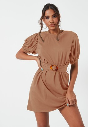 Missguided Camel Puff Sleeve Belted Jersey Mini Dress