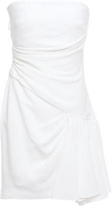 Cinq à Sept Ella Strapless Draped Ruffled Crepe Mini Dress