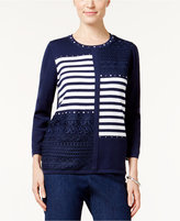 Alfred Dunner Petite Uptown Girl Embellished Patchwork Sweater