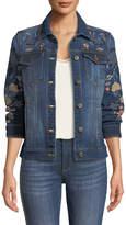 Driftwood Geena Embroidered Denim Jacket, Dark Blue