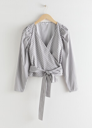 And other stories Striped Puff Sleeve Wrap Top