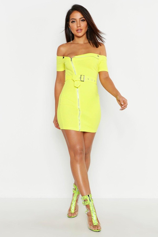 boohoo Zip Front Belted Mini Dress