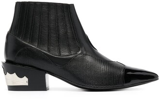 Toga Pulla Panelled Leather Ankle Boots
