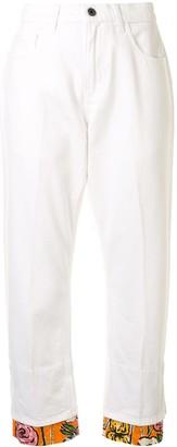 Marni Floral Hem Straight-Leg Jeans