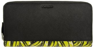 Prada Black and Yellow Saffiano Active Wallet