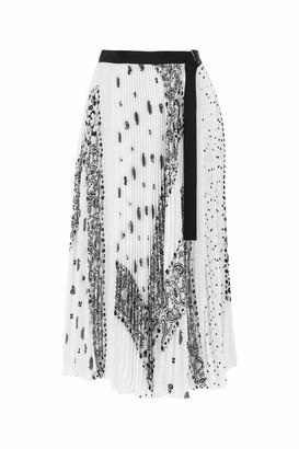 Sacai Printed Pleated Midi Skirt