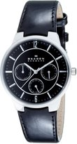 Skagen Men's Steel Leather Multi-Function Watch 331XLSLB