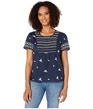 Lucky Brand Women's Smocked Embroidered TOP