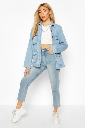 boohoo Mock Horn Button Utility Pocket jean jacket