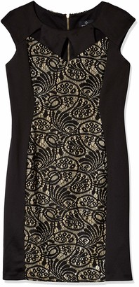 Ronni Nicole Women's Extended Cap Sleeve Cut Out Neck Lace Inset Sheath Black/Gold 10