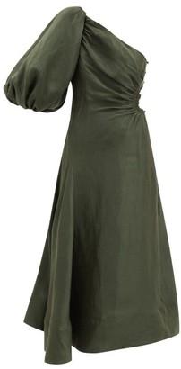 Aje Concept One-shoulder Linen-blend Dress - Dark Green