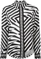 Versus asymmetric stripe shirt - women - Silk - 40
