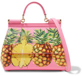 Dolce & Gabbana Sicily Medium Printed Textured-leather Tote - Pink