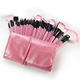 DRQ Professional Makeup Brush Set| Pro Cosmetic-32pc Studio Pro Makeup Make Up Cosmetic Brush Set Kit w/ Leather Case - For Eye Shadow, Blush, Concealer, Etc. (Pink)