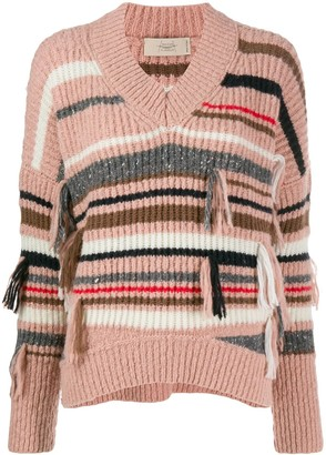 Maison Flaneur Striped Ribbed Knit Sweater