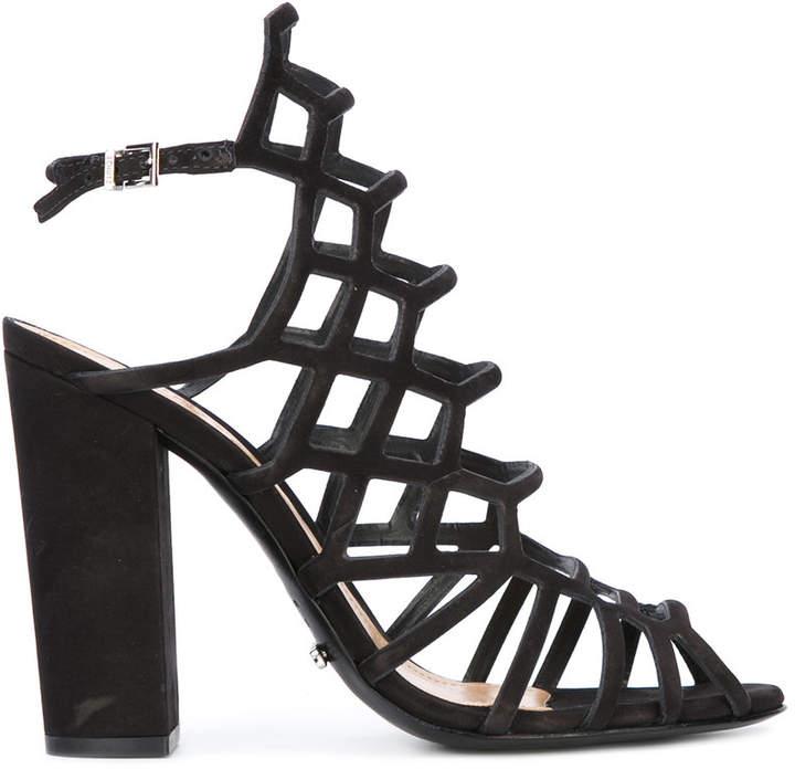 Schutz block heel caged sandals
