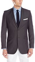 Adolfo Men's Charcoal Featherbone Slim Fit Micro Tech Suit Jacket