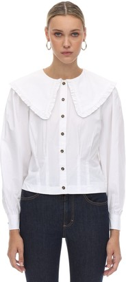 Ganni Wide Collar Cotton Poplin Shirt