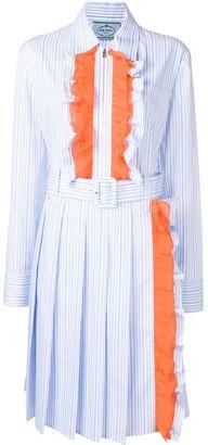 Prada Ruffle-Trim Long Shirt-Dress