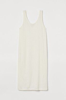 H&M Fitted Linen-blend Dress - White
