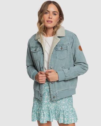 Roxy Womens Desert Sands Cord Sherpa Lined Trucker Jacket