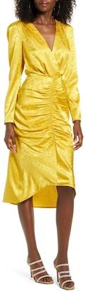 WAYF Ronnie Ruched Long Sleeve Midi Dress
